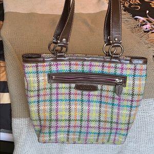 Coach Penelope Tattersall Plaid Wool Handbag